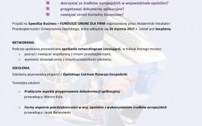 Przyjdź na SpeedUp Business – FUNDYSZE UNIJNE DLA FIRM