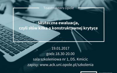 """Szkolenie dla studentów i absolwentów Uniwersytetu Opolskiego """"Skuteczna ewaluacja, czyli słów kilka o konstruktywnej krytyce"""""""